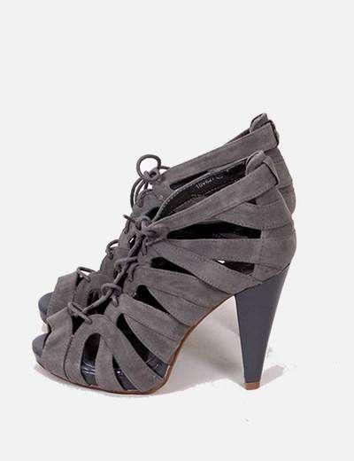 Sandalias tacón gris con cordones Marypaz