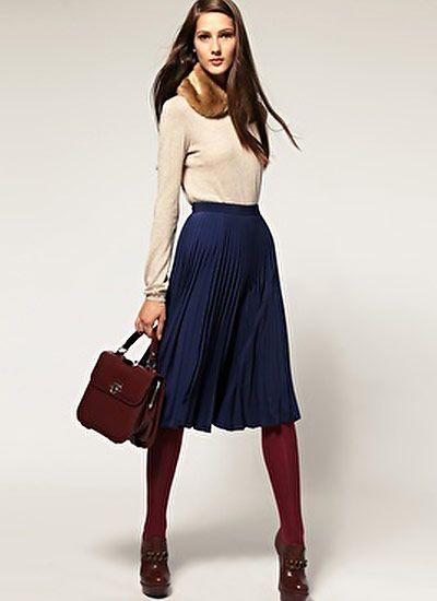 スカート7色×タイツの2015秋冬コーデ♡カーキ・ボルドー・キャメル | 美人部