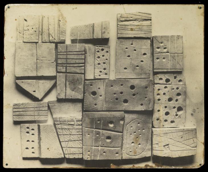 Nigel Henderson 'Photographic panel showing Cat No 108 - 'Plaster Blocks, Eduardo Paolozzi, 1952'', [c 11 Sep 1953–18 Oct 1953] © The Eduardo Paolozzi Foundation & © The estate of Nigel Henderson