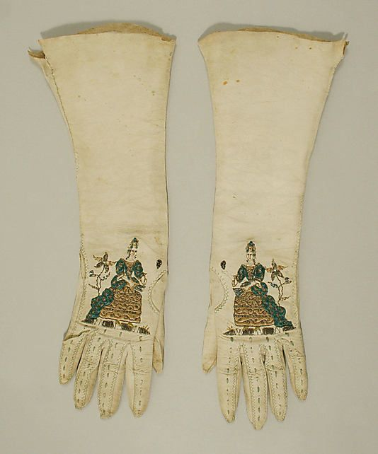 Gloves 1785, British, Made of silk and leather