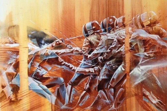 Le peintre Aaron Li-Hill expose en ce moment même ses nouvelles créations au White Halls de San Francisco. Cette série d'oeuvres très dynamiques porte le n