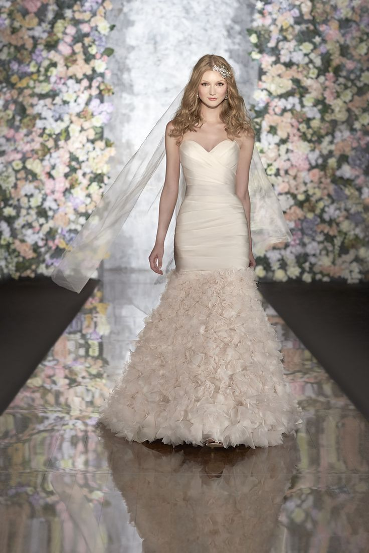 Silk Organza Strapless Wedding Dress Features Ruching On The Bodice And Rosettes Skirt Exclusive Designer By