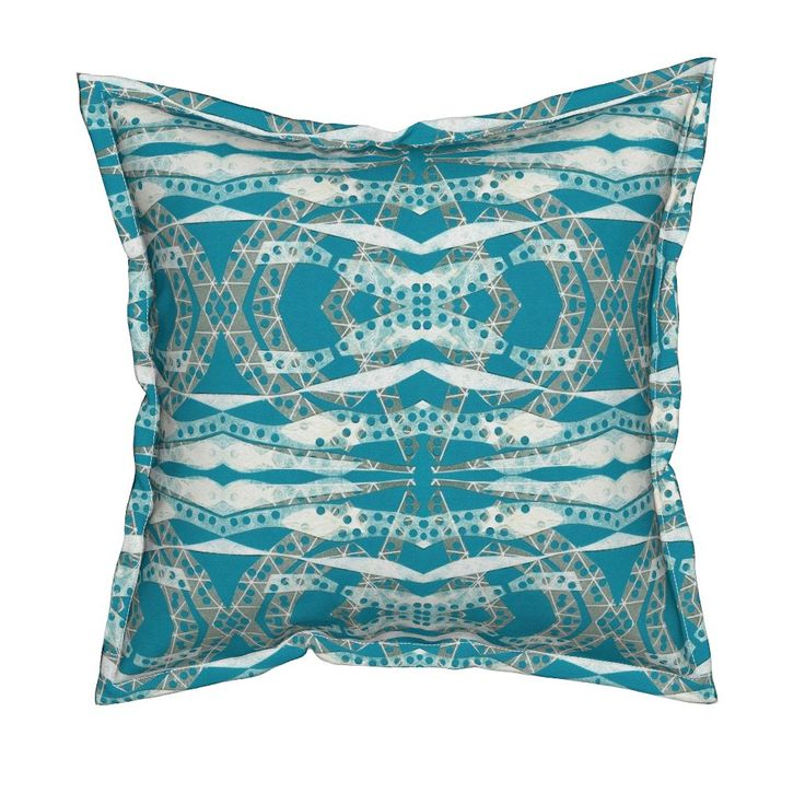 Serama Throw Pillow featuring Turquoise Collage Waves by joancaronil   Roostery Home Decor