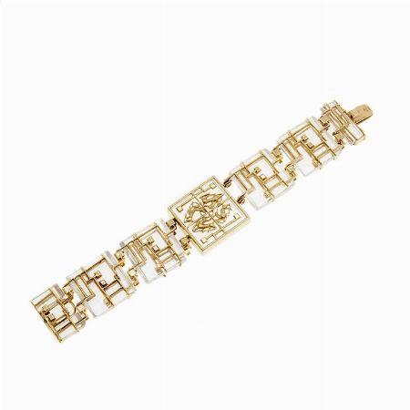 BRACCIALETTO, LALAOUNIS, GRECIA MATERIALE - oro giallo e cristallo          - #2 ASTA ONLINE Gioielli del Novecento  - Lotto n. 36 #bracelet #crystal #deer #classic #jewels #jewellery #florence #grece #diamonds #auction