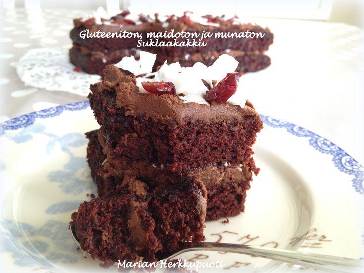 koristeelliset-kakut » Gluteeniton, maidoton ja munaton suklaakakku