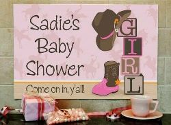 Western Cowgirl Baby Shower Personalized Signs