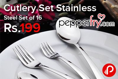 Pepperfry is offering Ideale Stainless Steel Cutlery Set – Set of 16 Just Rs.199. 6 Pieces Fork, 6 Pieces Spoon, 4 Piece Serving Spoon.  http://www.paisebachaoindia.com/cutlery-set-stainless-steel-set-of-16-just-rs-199-pepperfry/