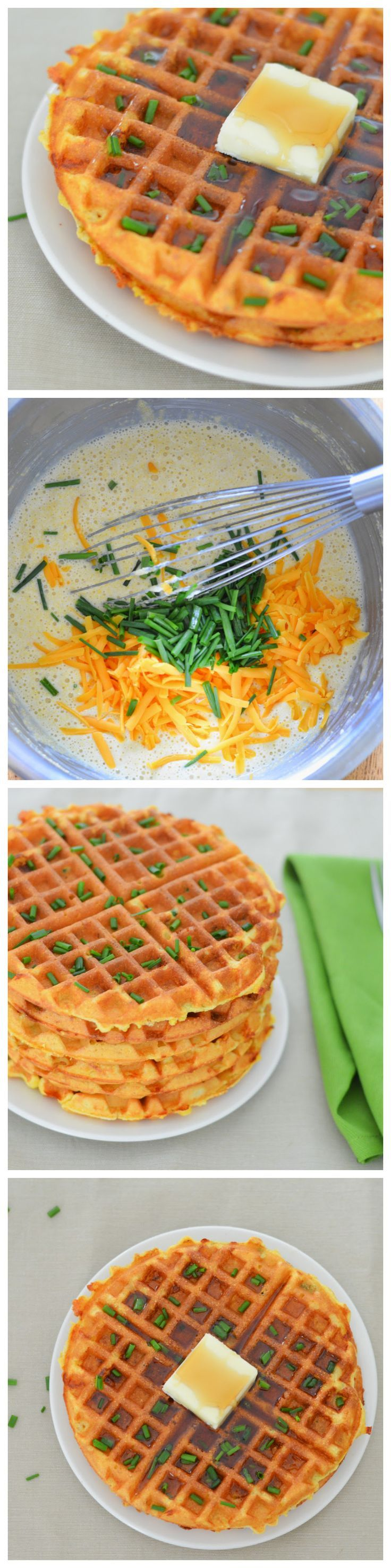 Cheddar + Chive Cornmeal Waffles. Great for breakfast, lunch, and dinner!