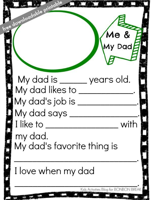 free downloadable father's day printable from Kids Activities Blog