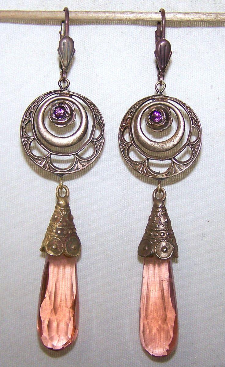Vintage Czech dangle rose glass earrings.