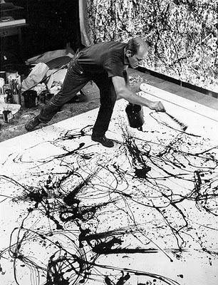 Pollok- my new fav. American artist L'Action Painting, traduit littéralement peinture active, désigne aussi bien une technique qu'un mouvement pictural. C'est un art abstrait apparu au début des années cinquante à New-York. Ce terme a été proposé en 1952 par le critique américain, Harold Rosenberg, pour caractériser l'importance de la gestualité dans le travail de certains artistes expressionnistes abstraits.