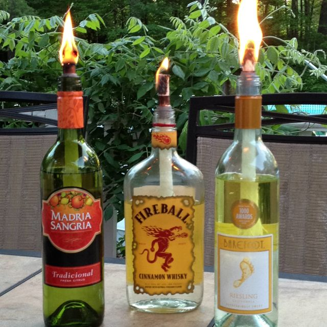 Wine bottle tiki torches so easy outdoor ideas for Diy beer bottle tiki torches