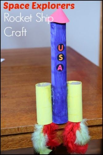 Space Explorers Rocket Ship Craft Possible way to use up some of the paper towel rolls