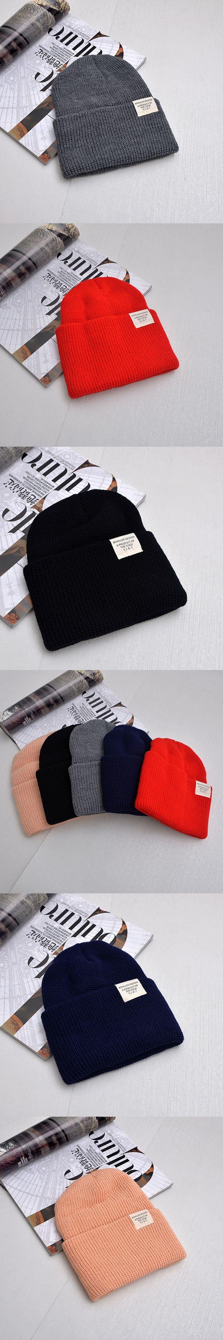 Simple Outdoor Patch Hat For Women Girls Men Boys Knitted Hats Female Male Autumn Winter Beanies Skullies bonnet Beanie Caps