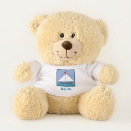 Patchwork Sail Boat In Blue and White Personalized Teddy Bear - diy cyo customize gift idea