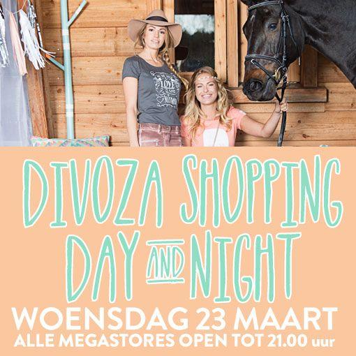 Noteer alvast in je agenda! Divoza Shopping Day & Night woensdag 23 maart alle megastores open tot 21:00 uur. Binnenkort Meer via Facebook en onze nieuwsbrief! #shopping #divoza #ruitersport #mode #fashion