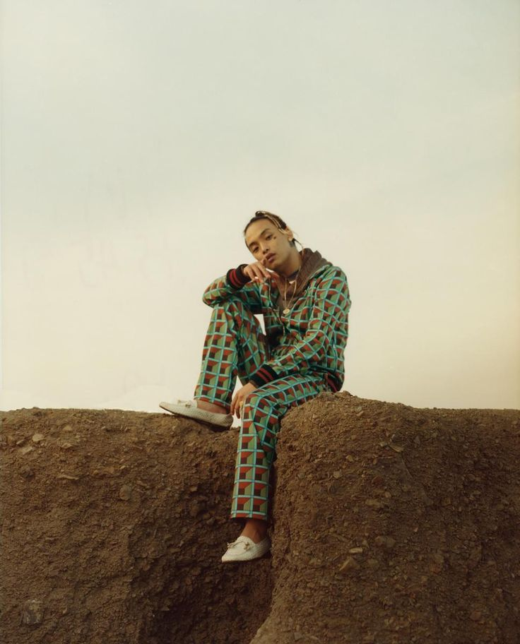 Keith Ape Photography Jalan and Jibril Durimel Jacket and pants Gucci. Hoodie G-Star. Necklace model's own. Shoes from Palace Costume. i-D