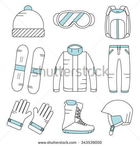 Vector linear snowboard equipment icons set. Winter sport activities objects. Gloves, boots, helmet, ski suit, hat, sunglasses, backpack.