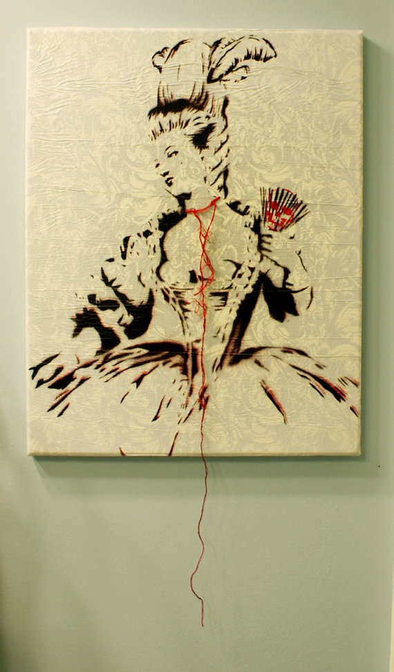 MARIE ANTOINETTE Wrapped Canvas Vrsn. Portrait Original Painting Mixed Media 11 x 14 Artwork French Versailles Stencil Acrylic Spray Paint