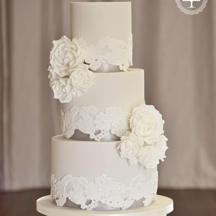 Jordanne & James wedding cake from last Saturday at Colshaw Hall. Stone coloured icing to match the bridesmaid dresses and white roses #elegantweddingcakes