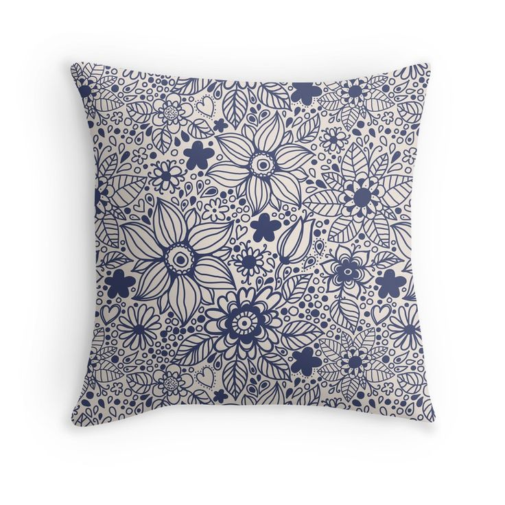 """""""Seamless texture with blue flowers"""" Throw Pillows by smotrivnebo   Redbubble"""