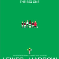 Lewes v Harrow Borough match poster, as shown on In Bed With Maradona