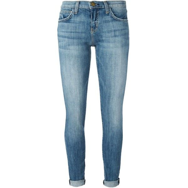 Current/Elliott The Rolled Skinny Denim Jeans ($172) ❤ liked on Polyvore featuring jeans, pants, bottoms, blue, skinny jeans, current/elliott, skinny leg jeans, blue jeans and current elliott jeans