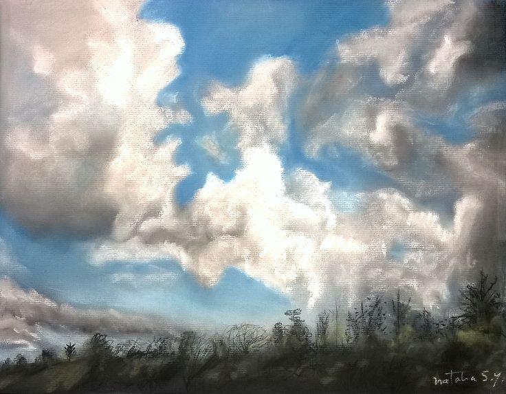Nubes locas al pastel #pastel #drawing #sketch #art #cloud #winter #landscape #nature #pasteldrawing
