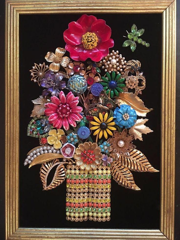 VINTAGE JEWELRY FRAMED ART NOT CHRISTMAS TREE - FUNKY FLOWER POWER IN VASE-WOW!