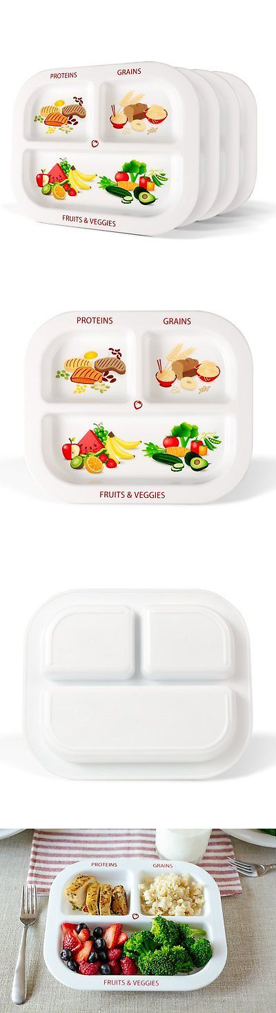 Bowls and Plates 184341: Healthy Habits Divided Kids Portion Plate 4-Pack, 3 Fun And Balanced Sections For -> BUY IT NOW ONLY: $30.87 on eBay!