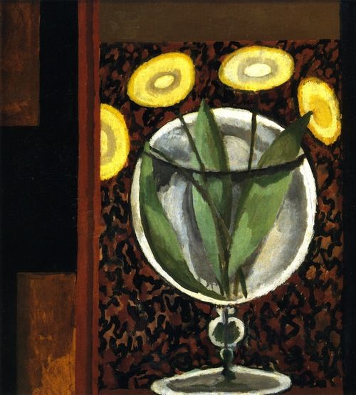 Duncan James Corrowr Grant (British, 1885-1978)  Flowers in a Glass Vase (c.1917-1918) via The Athenaeum