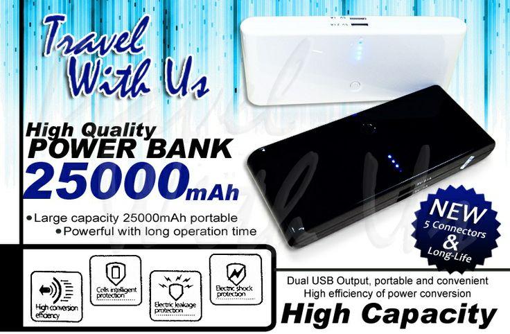 Power Bank TWU 25000 mAh, Rp 382.000,- *not include shipping cost  - Memiliki 2 output charge; 1,0A untuk pengisian handphone/smartphone, Blackberry, MP3 Player dsb, 2,1A untuk pengisian tablet, kamera pocked/DSLR, dll. - Dapat digunakan diberbagai device/gadget dan dapat men-charge 2 device sekaligus - 4 LED, sebagai lampu indikator - Tersedia warna hitam dan putih