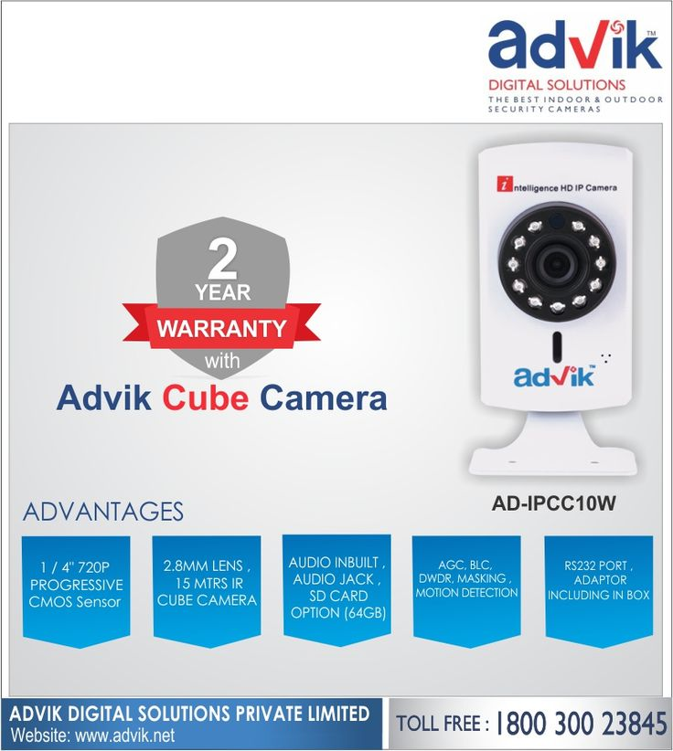 2 Year Warranty with Advik Cube Camera!!! Advik's 2 MP Cube #Camera is a high quality camera that comes with 2 years warranty. It has superior audio with RS232 protocol, which makes communication faster and more reliable by reducing the response time. This combined with hard #electrical connection ensures there are no accidental damages. Advik's #cubecamera is unbeatable with #audiojack for #speakers, connectivity via WIFI and LAN, 1/2.8' Sony CMOS sensor with 1080 pixel resolution, 2.8mm…