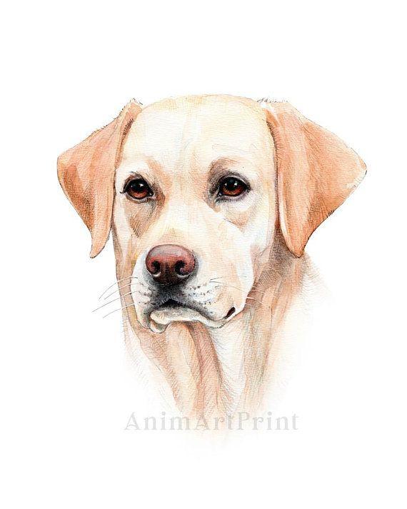 Labrador Retriever Art Laboratoire Chien Aquarelle Peinture
