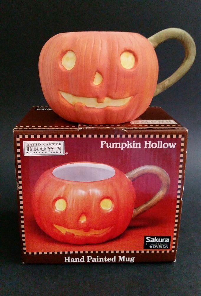 Pumpkin Hollow Jack O Lantern Mug David Carter Brown Collection Sakura New NIB #Sakura
