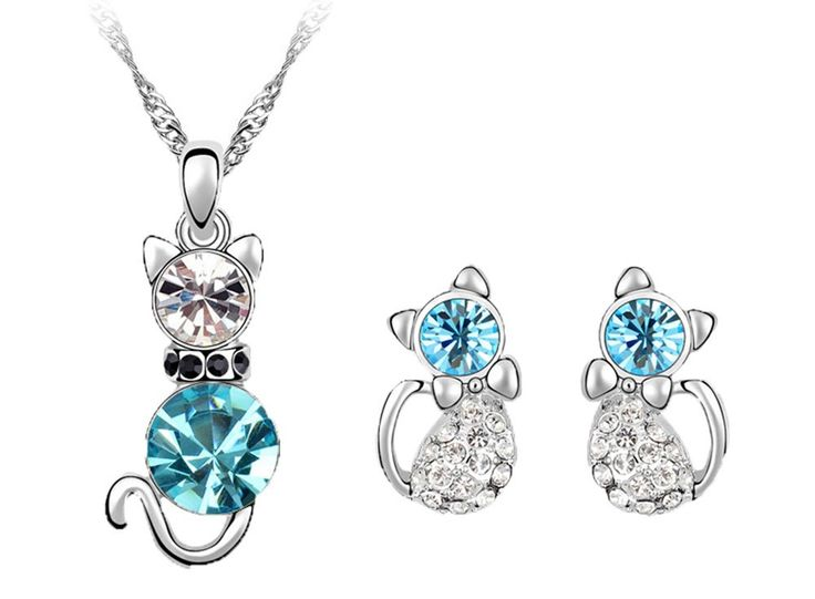 niceeshop(TM) Fashion Rhinestone Lady Cat Drop Earrings and Necklace Women Jewelry Set (Sea Blue): Jewelry: