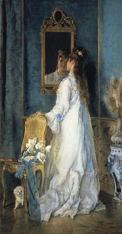 Woman in front of a mirror, 1870 : Alfred Stevens (1823-1906)