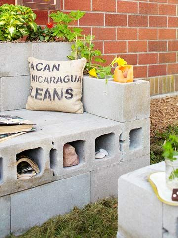Cinder block benchBlock Benches, Outdoor Seats, Cinder Block Garden, Concrete Block, Cinder Blocks, Cinderblock, Diy Projects, Fire Pit, Gardens Benches