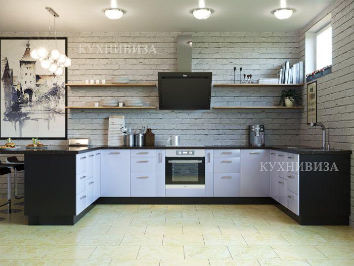 """Встроенная кухня на заказ """"Скай"""" в синем цвете. Blue kitchen cabinet."""