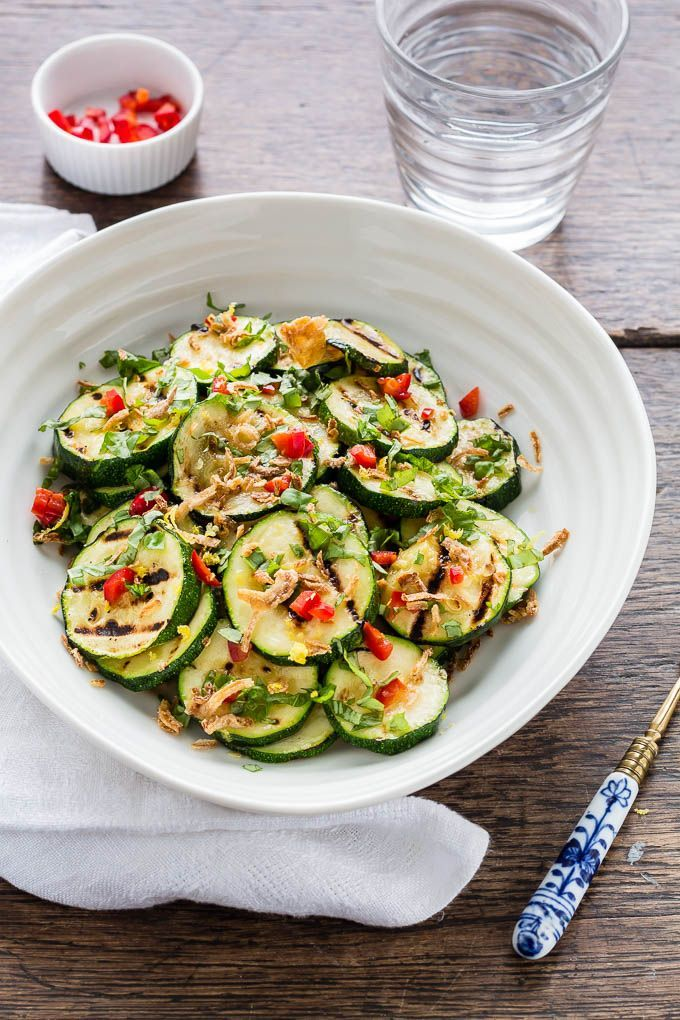 Roasted Courgette Salad With Lemon, Chilli, Basil And Crispy Shallots - This awesome vegan recipe is so tasty | Recipes from a pantry {gluten-free recipe, zucchini healthy recipe}