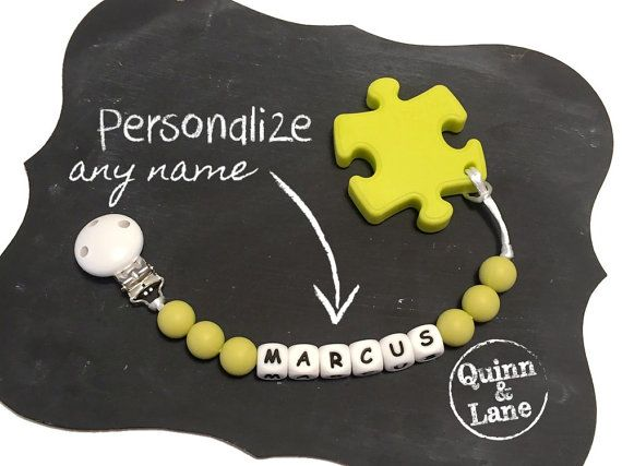 Custom PERSONALIZED Silicone Teething Pacifier Clip w/ Puzzle