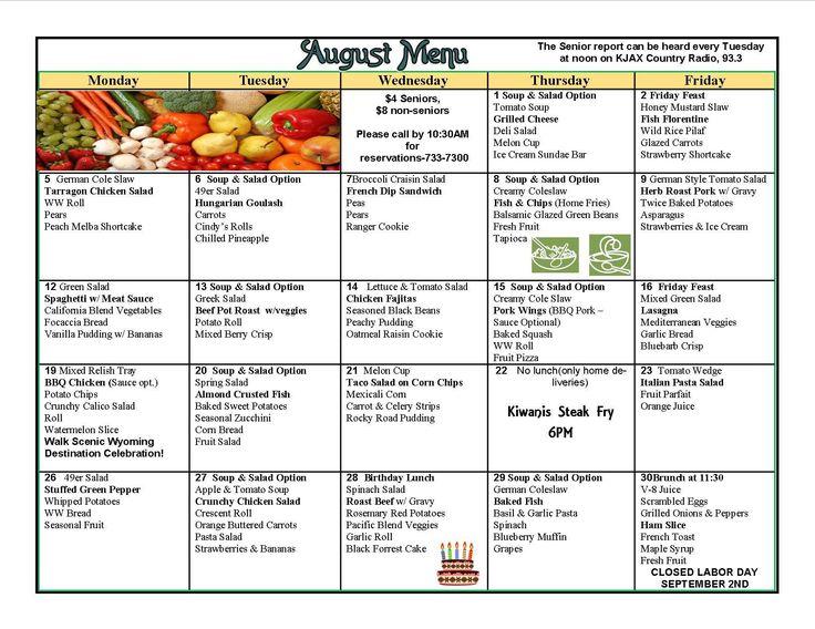 Monthly Meal Menu Menus Pinterest Meals Calendar
