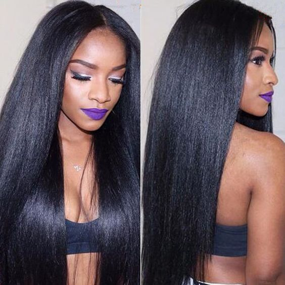 7A Grade Italian Yaki Full Lace Human Hair Wig & Lace Front Wig Natural Color Brazilian Hair Kinky Straight  Human Hair Wig