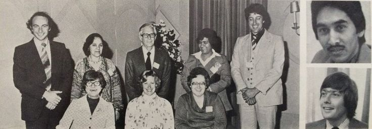 """Standing left to right: Martin Susskind, Doreen Bazier, Walter Nathan, Rukeya Davids, Jerome Lewin Front row: Florence """"Aunty"""" Maingard, June Kritzinger, Daisy Hermanus Right top to bot…"""
