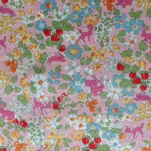 Hokkoh - Flora and fauna on pink - Lawn - 1/4m