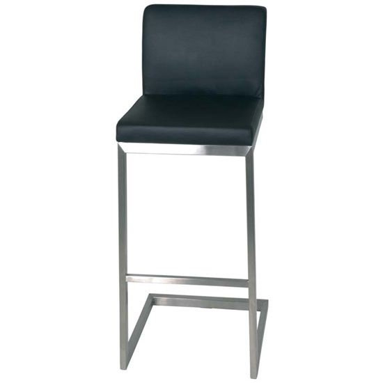 Enzo High Bar Stool In Black Real Leather  sc 1 st  Pinterest : real leather kitchen bar stools - islam-shia.org