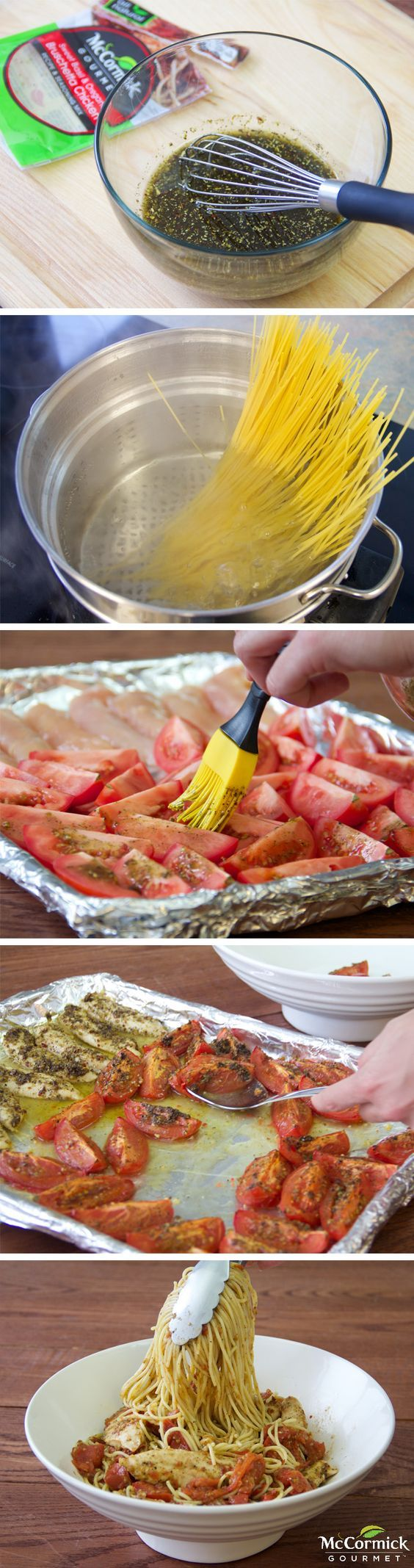 Roast plum tomatoes to bring out their sweetness. Add chicken tenders to the baking pan and you'll have a flavorful pasta dish.: