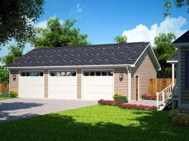Three Bay Garage with side patio. Very basic and similar to our house style.
