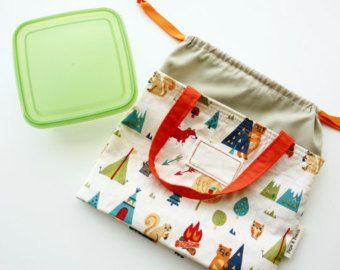Regalo personalizado, regalo de los niños, bolso del almuerzo, Lunch Box, con nombre, lazo, Linda, bosque Animal bosque, apagado blanco naranja, regalo hecho a mano