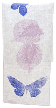 Hand screen-printed table runner in lilac and indigo.